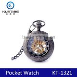 retro flip skeleton watch mechanical pocket watch china watch factory