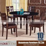 Expandable wood mordern table with tempered glass top