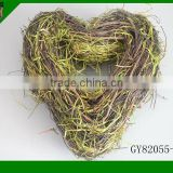 natural material heart shape wreath for Christmas Decorative