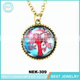 fashion necklace 2016 gold chain gemstone tree of life pendant necklace