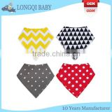 WZ-MS-1915 stylish 100% absorbent cotton polyester fleece baby bandana bibs with 2 nickle-free snaps