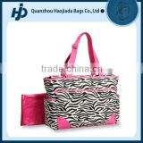 Durable material fashionable zebra print baby diaper bag