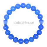 Gorgeous 10mm 7.5 Inch Blue Dye Jade Gemstone Bangle Bracelet (Jewelry Box is not Included)