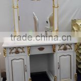 dresser furniture with mirror 2016 wood carving in silver gold, amber mother of pearl with drawer, white lacquer matt