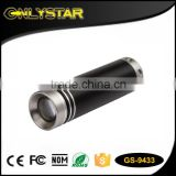 Onlystar GS-9433 wholesale 1w mini black lighting led 1*aa dry battery zoom light oem flashlight