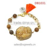High Quality Gold Chain Jewelry Druzy Stone Bracelet Tassel Charm Bracelets From China Jwellery Factory