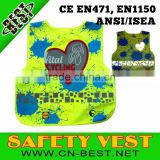 CE EN1150 class two 100% polyester Unisex Children high quality Breathable kids safety vest,reflective safety vest                                                                         Quality Choice