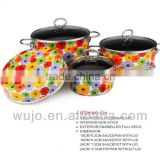 Full Flower Enamel non stick cookware Set with S/S handle