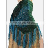 2016 Belly Dance Tribal Hip Scarves Beads Waist Belts Fringe Peacock Patterns Sequins Velvet Belly Dance Hip Scarf Triangle