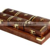 Set of 6 Wooden Pill Boxes Dispensers with a Tray and Brass Inlay