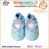 2014 Fashion Wholesale Shenzhen Flower & Butterfly Dark blue Baby Genuine Leather Shoes