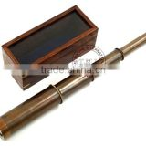 "BROWN ANTIQUE BRASS TELESCOPE WITH WOOD & GLASS BOX - NAUTICAL BRASS TELESCOPE 14"" RETRACTABLE"