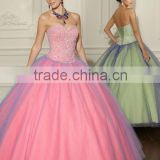 2012 New Designer Gorgeous Luxury Pink Net Full Beaded Quinceanera Dress Prom Gown MLQ-285