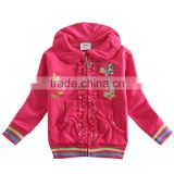 (F2879) fuchsia 18M-6Y nova baby kids embroidered hoodies warm girls coats children clothing whiolesale