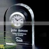 Crystal Laser Engraving Cristal Glass Table business Clock for Wedding Souvenirs decoration gift or office gift set