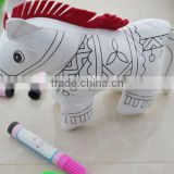 DIY painting plush horse/DIY Drawing animal dolls/baby educational toys/DIY painting plush toy