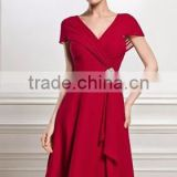 V-neck Knee-Length Chiffon Mother of the Bride evening Dress With Beading Sequins Cascading Ruffles prom Dress