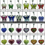 new custom high quality stainless steel crystal rhinestone butterfly heart body jewelry navel ring