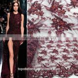 Handmade embroidery dresses heavy lace fabric 3d flower lace embroidered fabric Burgandy french lace evening dress 2016