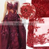 2016 burgundy tulle embroidery applique dress/tulle wedding dress/embroidered tulle fabric                                                                         Quality Choice