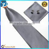 Fashion Striped Mens Skinny Tie Hanky Cufflinks Set Wholesale in China