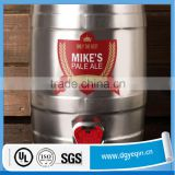 custom made waterproof beer barrel adhesive label, beer keg label