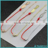 2016 redline Jewelry simple and stylish half red string bracelet 925 sterling silver single diamond chain bracelet