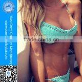 Charming mint handmade crochet transparent bikini set for swimming