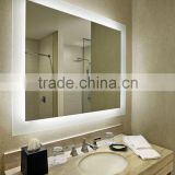 Hotel bathroom mirror with led lighted and touch sensor,IP44 shower mirror for makeup