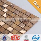 LJ JY-Mx-SM02 Dark Emperador Brown Stainless Steel Mosaic Tiles Mix Chinese Marble Tiles Prices in Pakistan Style