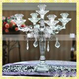 Handmade Exquisite Tall 5 Branch Crystal Candelabra Centerpiece For Wedding Party Table Centerpiece Decoration