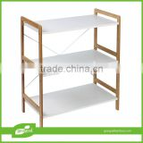 free standing display shelves/bamboo white free standing shelves