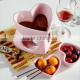 Factory wholesale custom ceramic heart shape chocolate fondue set