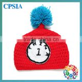 2014 Newest Red Colour Horologe Pattern 100% Headband Crochet Cap And A Ball In Top