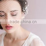 Newest Vintage Best Selling Cover Face Birdcage veil Simple Style Wedding pearl headpiece Romantic Wedding Accessories