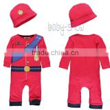 Fashion Baby Boy Autumn And Winter Red Painted Romper With Hat Cotton Kids Clothi 3 Pcs/Lot RR40218-2