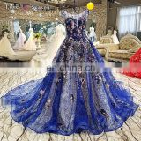 LS00282 blue sleeveless long train dresses evening appliques ball gown prom party girl dress
