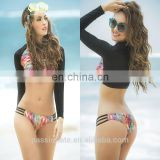 rainbow printed hot sale low price sexy women rash guard crop top