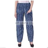 Hand Block Print Cotton Trouser, women Yoga Trouser , Indigo Blue hippy Pazama