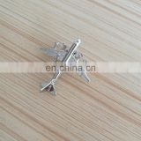 custom 3D airplane design silver plated metal lapel pin with butterfly clutch