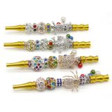 155mm Length metal yellow smoking pipe with metal beads animal shape cigarette holder filter rod with penant