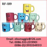 Straight 11oz Ceramic Coffe Cup with Smile Face for Promotional Gift Cup Tableware