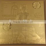 24k gold foil banknote/colorful gold plated paper money