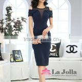 Elegant for mature women short frock dress round Neck Long See through short Sleeves casual Dresses