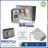 "Apartments 7"" Monitor Home Color Video Door Phone Intercom System Kit Support ID card unlock + Power supply +Electric control L"
