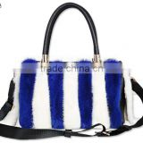 womens new style leather handbag with fox fur leather trim shoulder bag /mink skin bags
