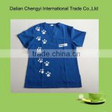 Blue women Cat and Gog Paw Printing Medical Scrubs