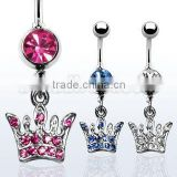 crown navel ring with crystals