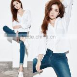 Women's Basic Design Cotton Long Sleeve Boy-Friend Style Shirt Blouse Solid White