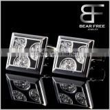 Classic Men's Enamel Cufflinks Set for French Sleeve Dress Shirts Cubic Zirconia Inlaid                                                                         Quality Choice